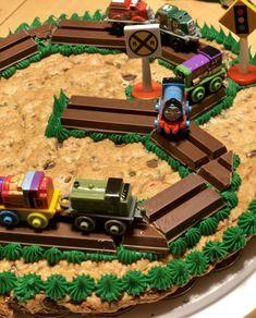 Easy Thomas and Friends Thomas Tank Engine Decorated Cookie Cake Thomas Train Birthday Cake, 2nd Birthday Cake Boy, Cookie Cake Birthday, Birthday Fun, Cake Designs For Boy, Cookie Cake Designs, Cookie Cakes, Thomas Tank Engine Cake, Thomas And Friends Cake