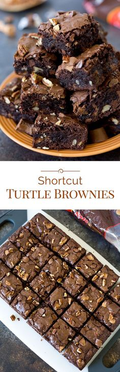 These rich, fudgy Shortcut Turtle Brownies start with a brownie mix, then you load them up with chopped caramel filled chocolate candies and crunchy pecans inside and on top.