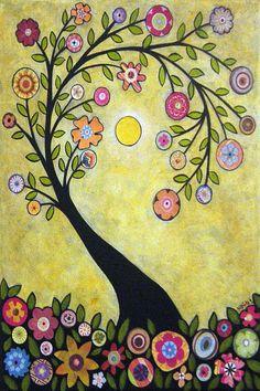 Smell the Flowers Summer Folk Art Tree Karla by KarlaGerardFolkArt