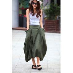 Boho Linen Skirt Lagenlook Maxi Skirt Big Pockets Big Sweep Long Skirt in Army Green Summer Linen Skirt - NC144 Lagenlook Maxi Skirt Big Pockets Big Sweep Long Skirt in Army Green Summer Linen Skirt - NC144 [NC144] - $64.99 : Sara Steven