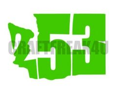 253 TACOMA Area Code Washington State Green Vinyl by CRAFTFREAK4U