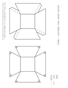 Free Printable Paper Basket Template in 3 Styles: Folded Paper Tray Template