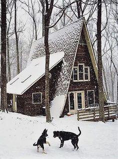 Winter A-frame cabin Winter Cabin, Cozy Cabin, Cozy House, A Frame Cabin, A Frame House, Little Cabin, Little Houses, Ideas De Cabina, Cabin In The Woods