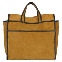 """Nola Boutique - Sessun Lester tote in tobacco suede with black leather trim. Large pocket on front with magnetic fastening. Small inner zip up pocket. Unlined. Comes with dustbag. Measures approx 32"""" wide, 30"""" high and 7"""" wide"""