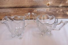 Vintage-Indiana-Glass-Co-Footed-Clear-Glass-Fluted-Sugar-Bowl-amp-Creamer