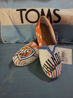 OKC THUNDER handpainted custom TOMS by JRDesignsTX on Etsy
