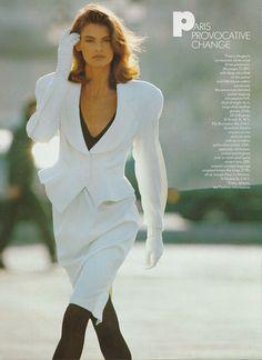 """Paris Provocative Change"", Vogue UK, March 1987Photographer: Hans FeurerModel: Linda Evangelista  ( Source: levangelista.net )"