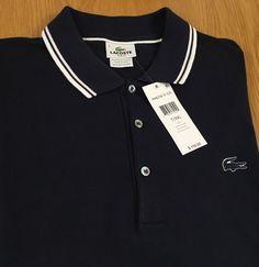 Lacoste Mens Short Sleeve Polo Shirt Slim Fit 7/XXL New NWT Navy Blue White Logo…