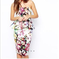 ASOS Midi Bandeau Dress With Ruffle Peplum New Brand new and perfect for spring/summer ASOS Dresses