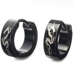 Stunning Black Stainless Steel Dragon Hoop Earrings For Men (Jewelry) Grunge Accessories, Grunge Jewelry, Gothic Jewelry, Jewelry Accessories, Ear Jewelry, Cute Jewelry, Jewelery, Men's Piercings, Necklace Extender