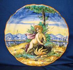 Antique-Cantagalli-Italian-Majolica-Plate-w-Hand-Painted-Cupid-Putti-Cherub