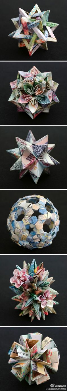 Origami flower ball, with money. (Diy Ornaments Paper)