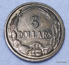 Reverse side of the 5 dollar Confederate coin.