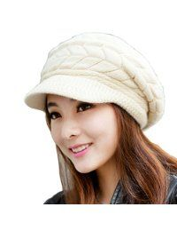 HINDAWI Women Winter Warm Knit Hat Wool Snow Ski Caps With Visor @ inthewarmzone.com