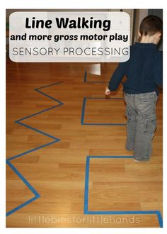 Walking Lines Rolling Balls Gross Motor Sensory Play Ideas Sensory Processing {S . - Walking Lines Rolling Balls Gross Motor Sensory Play Ideas Sensory Processing {Quick help for LRS Motor Skills Activities, Gross Motor Skills, Infant Activities, Preschool Activities, Proprioceptive Activities, Preschool Indoor Games, Summer Activities, Family Activities, Toddler Gross Motor Activities