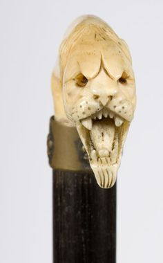 Ivory Cat Head Walking Stick Handle