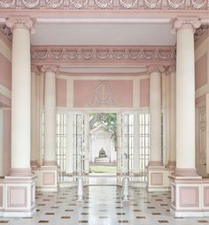 "Just gorgeous. Pink and white interior. Hermes Mallea's ""Great Houses of Havana"" : Architectural Digest"