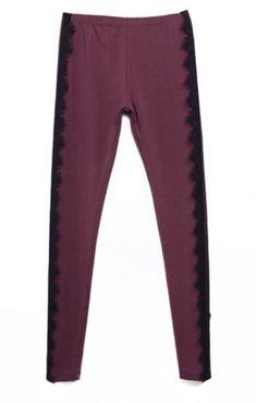 Purple Vintage Side Contrast Lace Leggings