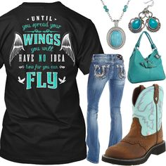 Spread Your Wings Outfit - Real Country Ladies. Minus the purse, necklace, & earrings though. Camo Outfits, Cowgirl Outfits, Cowgirl Style, Preppy Outfits, Western Outfits, Western Wear, Summer Outfits, Western Style, Cowgirl Tuff