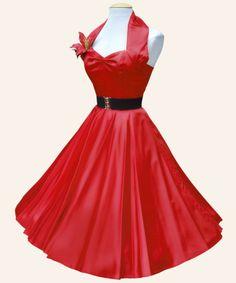 50s Halterneck Red Balck Purple Satin swing Dress from Vivien of | 1950s Dresses from Vivien of Holloway