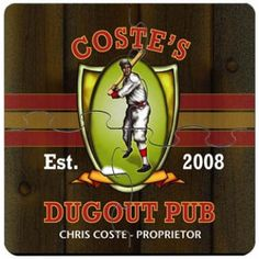 Personalized Dugout Pub Coaster Puzzle Set - Groomsmen Gifts - Wedding Gifts $29 - #Groomsmen #GroomsmenGifts #WeddingGifts #Gifts #Personalized