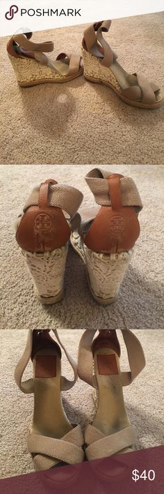 Tory Burch Wedges Tab Tory Burch wedges// crochet design on the wedge// stretch band around ankle//too small for me Tory Burch Shoes Wedges