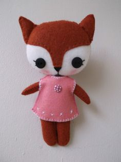 "Handmade from a Gingermelon Pattern 6"" Softie Plush Pocket Felt Fox Girl Doll very cute kawaii characters patterns for gingermelon are available on etsy and at their own website ,plus free patterns too"