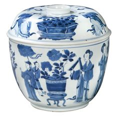 Chinese Blue and White Covered Cache-pot  Qing Dynasty, Kangxi Reign (1662-1722)  Decorated in Three Shades of Blue on a Bright Ground Showing Scenes of Aristocratic Ladies (Meiren) at Leisurely Pursuits. At the Base Inside the Footring in Underglaze Blue is an Artemisa Leaf, Typical of Kangxi Identification.