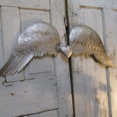 Handmade metal angel wings wall decor mercury glass pewter elegant shabby wall and home decor Anita Spero Design