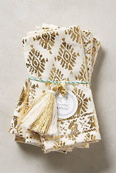Pretty gold detailing on these Cocktail Napkins #anthrofave