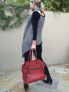 pop of red, red bag, accessorizing over forty