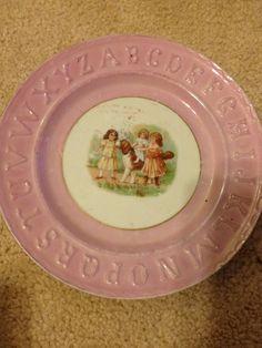Vintage Child's Pink Alphabet Plate c. 1800's Germany by abmdam