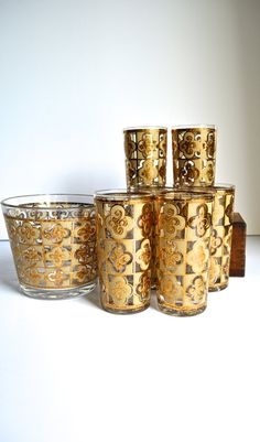 Vintage Bar Set Culver Glass Gold Highball Glasses and Ice Bucket
