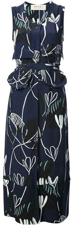 Marni abstract print midi dress on shopstyle.com