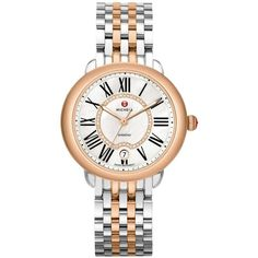 Michele Watches Serein Diamond, Mother-Of-Pearl, 18K Rose Goldplated &... ($1,470) ❤ liked on Polyvore featuring jewelry, watches, bracelets, apparel & accessories, red rose crown, bezel watches, red watches, diamond watches and crown bracelet