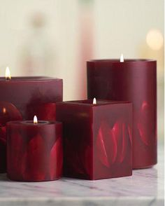 Dark Red Embossed Flower Pillar Candle
