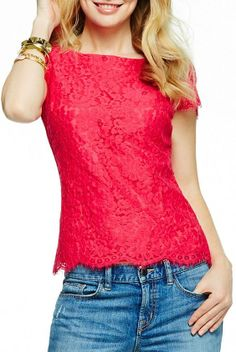 Pink Scalloped Lace Top ღ