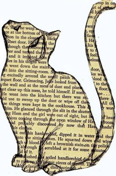 """""""Story Cat"""" by mary-paints, (on a stolen page of 1952 mystery novel, """"A Lotus for Miss Quonne"""")"""