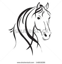 Line drawing of a horse's head on a white background