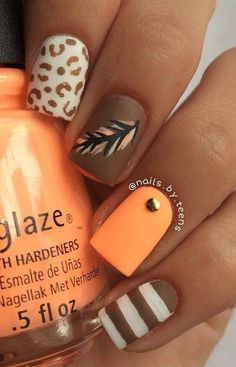 Fall leaves nail art nails pinterest fall leaves top 16 fashion nail design for fall thanksgiving new famous manicure project homemade ideas prinsesfo Images