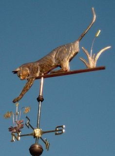 Cat Weathervane Playing with Columbine by West Coast Weathervanes.