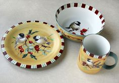 Lenox Winter Greetings Everyday Chickadee Salad Plate All Purpose Bowl Xmas Set #lenox