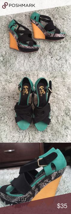 Heel wedges. Purchased at Buckle store Used twice. Look and feel brand new Daytrip Shoes Heels