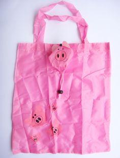 Sacola Animal - Porco/Rosa