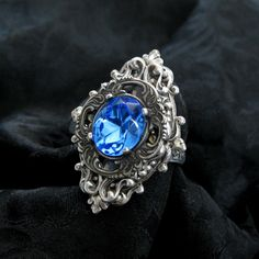 Well of Souls Ring II  Sapphire Swarovski and Silver by RavynEdge, $27.00