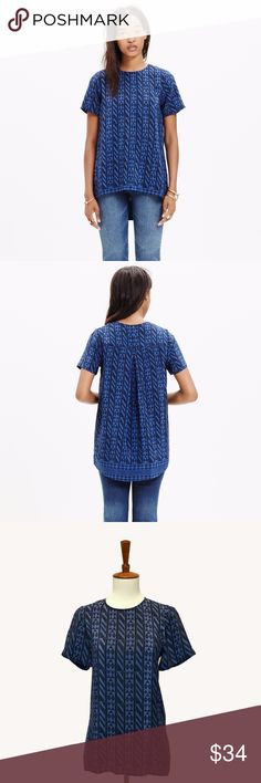 Madewell Tailored Top With its feminine drape and higher-in-front hem, this silk top is the T-shirt refined. We love it in a geometric print inspired by African textiles.   Across the chest 18 inches. Shoulder to hem 25 inches. Madewell Tops Blouses