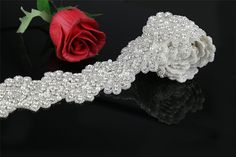 QueenDream Pure manual 1Yard Bridal Pearl Applique clear rhinestone applique, crystal bridal belt applique beaded patch for DIY wedding sash -- Be sure to check out this awesome item.