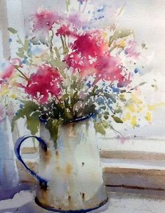 Ideas Painting Watercolor Still Life Watercolour For 2019 Watercolor Pictures, Watercolor Cards, Watercolour Painting, Watercolor Flowers, Painting & Drawing, Watercolors, Drawing Flowers, Easy Watercolor, Watercolor Artists