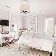 Pink Girl Bedroom with Black and White Bone Inlay Nightstands