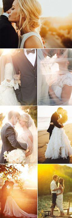 elegant wedding photo with the sun